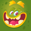 Cartoon monster face. Vector Halloween green monster avatar with wide smile.