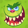 Cartoon monster face . Vector Halloween happy monster square avatar. Funny monster mask