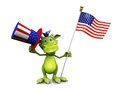 Cartoon monster holding an American flag and hat. Stock Image