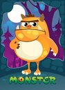 Cartoon monster illustration for poster, greeting card, party or