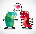 Cartoon monster love card Royalty Free Stock Photos