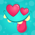Cartoon monster in love. Vector illustration for St Valentines Day