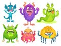 Cartoon monster mascot. Halloween funny monsters, bizarre gremlin with horn and furry creations. Cartoons character