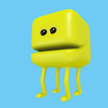 Cartoon monster smiling yellow cube on legs. 3D illustration.