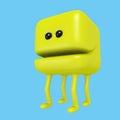 Cartoon monster smiling yellow cube on legs. 3D illustration.