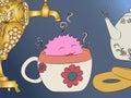 Cartoon monster tea cup samovar teapot
