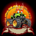 Cartoon monster truck one click repaint available ai cs vector format separated by groups and layers for easy edit Stock Photos