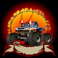 Cartoon monster truck one click repaint available eps vector formats separated by groups and layers for easy edit Royalty Free Stock Images