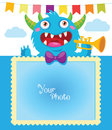 Cartoon Monster Vector Illustration. Birthday Theme. Decorative Cartoon Template For Baby Family Or Memories. Royalty Free Stock Photo