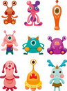 Cartoon Monsters icons set Stock Image