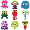 Cartoon monsters set of funny isolated on white Royalty Free Stock Images