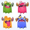 Cartoon Monsters set for Halloween. Vector set of cartoon monsters isolated. Design for print, party decoration, t-shirt