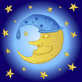 Cartoon moon in the starry sky sleeping Stock Photo