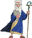 Cartoon moses with his staff and tablets Royalty Free Stock Images