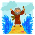 Cartoon Moses parting the red sea Royalty Free Stock Photo