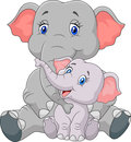 Cartoon mother and baby elephant sitting isolated on white background Royalty Free Stock Photo