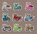 Cartoon motorcycle stickers Royalty Free Stock Photography