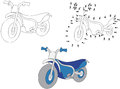 Cartoon motorcycle. Vector illustration. Coloring and dot to dot