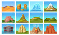 Cartoon Mountain Landscapes Set