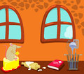 Cartoon mouse eating in the kitchen illustration of Royalty Free Stock Photography