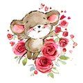 Cartoon mouse watercolor illustration. cute mice. Royalty Free Stock Photo