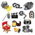 Cartoon movie equipment icon set Stock Photo