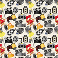 Cartoon movie equipment seamless pattern Royalty Free Stock Photography
