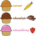 Cartoon muffins 2 Royalty Free Stock Images