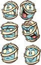 Cartoon mummy head with different expressions Royalty Free Stock Photo