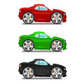 Cartoon muscle car three different colors Royalty Free Stock Image
