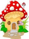 Cartoon mushroom house illustration of Royalty Free Stock Images