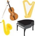 Cartoon music instruments set 1 Stock Photography