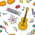 Cartoon music signs and symbols. Seamless color vector pattern.