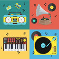 Cartoon Musical Instrument Set. Vector