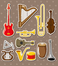 Cartoon musical instruments stickers Royalty Free Stock Photos
