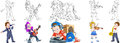 Cartoon musical professions set