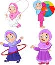 Cartoon muslim girls with different hobbies