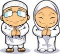 Cartoon of Muslim Man & Woman