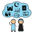 Cartoon muslims and muslim symbols man woman cloud with the of islam Stock Images