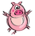 Cartoon naif baby pig in a naif childish drawing style funny spreading hands and feet Royalty Free Stock Images