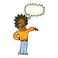Cartoon nasty boy with speech bubble Royalty Free Stock Photography