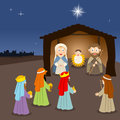 Cartoon nativity scene a christmas with mary joseph and jesus in the manger with the three wisemen and a shepherd the silhouette Royalty Free Stock Photo