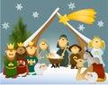 Cartoon nativity scene with holy family Royalty Free Stock Photo