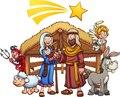 Cartoon nativity scene with shooting star