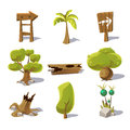 Cartoon Nature Elements, Vecto...