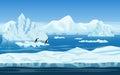 Cartoon nature winter arctic ice landscape Royalty Free Stock Photo