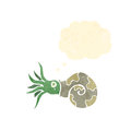 Cartoon nautilus squid with thought bubble Royalty Free Stock Photo