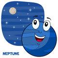 Cartoon neptune planet character a happy smiling on a blue outer space background with bright stars and orbiting eps file Stock Photography