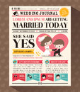 Cartoon newspaper wedding invitation card design journal vector template Royalty Free Stock Photo