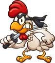 Cartoon ninja chicken with sword Royalty Free Stock Photo